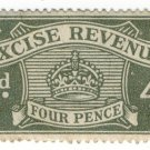 (I.B) Excise Revenue : 4d Grey-Green (1916)