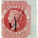 (I.B) QV Revenue : Customs Duty 1/6d (simple anchor watermark)