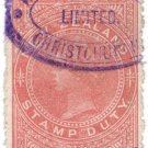 (I.B) New Zealand Revenue : Stamp Duty 4/- (sideways watermark)