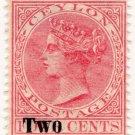 (I.B) Ceylon Postal : Two on 4c Pink OP