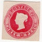 (I.B) QV Postal : Embossed Die 3d (1866)