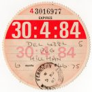(I.B) GB Revenue : Car Tax Disc (Hillman 1984)