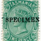 (I.B) Australia Postal : Tasmania 2d Blue-Green (specimen)