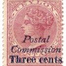 (I.B) Ceylon Revenue : Postal Commission 3c on 4c Purple (italic overprint)