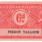 (I.B) Australia - Victoria Railways : Parcels 6d (Pirron Yallock)