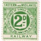 (I.B) Eastern & Midlands Railway : Letter Stamp 2d