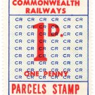 (I.B) Australia Railways - Commonwealth Parcels 1d