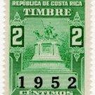 (I.B) Costa Rica Revenue : Duty Stamp 2c (1952)