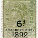(I.B) QV Revenue : Transfer Duty 6d (1892)