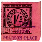 (I.B) Great Western Railway : Parcel Stamp 1/- (Cardiff - Pearson Place)