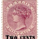 (I.B) Ceylon Postal : Two Cents on 4c Mauve OP