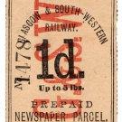 (I.B) Glasgow & South Western Railway : Newspaper Parcel 1d
