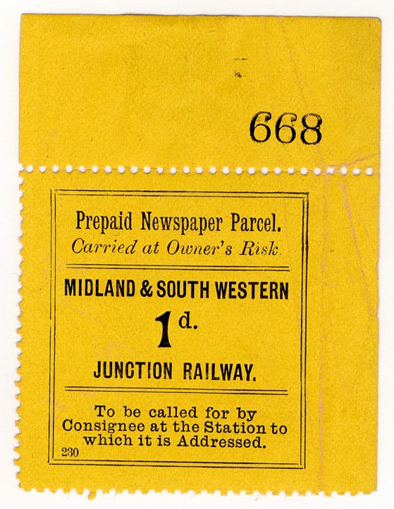 (I.B) Midland & South Western Junction Railway : Newspaper Parcel 1d