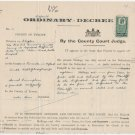 (I.B) George V Revenue : County Courts Northern Ireland 2/- (complete document)