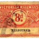 (I.B) Australia - Victoria Railways : Parcels 8d (Melbourne) sideways watermark