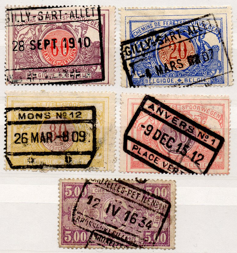 (I.B) Belgium Railways : Parcel Stamp Collection