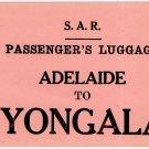 (I.B) Australia - South Australia Railways : Parcel Label (Adelaide-Yongala)