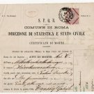 (I.B) Italy Revenue : Death Certificate (Rome 1876) complete document