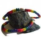 Gay Pride Rainbow Coco Bead Necklaces Surfers Choker
