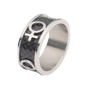 Lesbian Carbon and Stainless Steel Ring Gay Pride