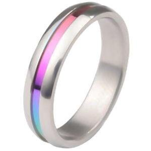 Gay Pride Rainbow Anodized Stainless Steel Ring Lesbian