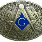 Masonic Oval Belt Buckle Bronze Colored Compass G Masons Freemason Metal