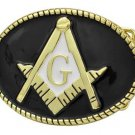 Masonic Oval Belt Buckle Enamel Black and Gold Compass G Masons Freemason Metal
