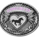 Cowgirl Up Rodeo Belt Buckle Metal Western Design With Horse and Heart Cow Girl