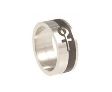 Lesbian Two Tone Stainless Steel Ring Female Gay Pride