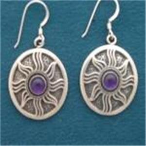 0.925 Sterling Silver Inanna's or Morning Star Hook Earrings With Stone