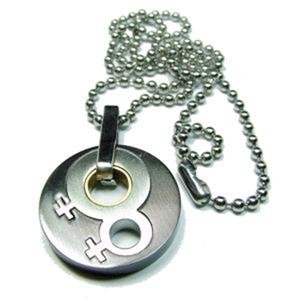 Lesbian 3 Toned Double Female Pendant Stainless Steel and Titanium