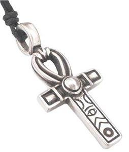Egyptian Fertility Cross Ankh Pewter Pendant Necklace