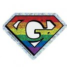 Gay Pride Sticker Super G Super Pride Rainbow Diamond Cut Holographic Style