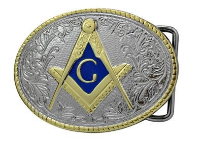 Masonic Belt Buckle Compass G Masons Freemason Polished Silver & Gold