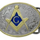 Masonic Belt Buckle Compass G Masons Freemason Polished Silver & Gold