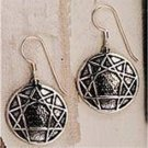 O.925 Sterling Silver Ennegram Hook Earrings Solid Enneagram Personality Types