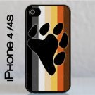 iPhone 4 / 4S Slim Hard Cell Phone Case Gay Bear Pride Flag w Bear Paw Slim Fit