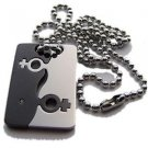 Lesbian Titanium & Stainless Steel Puzzle Dog Tag Pendant Gay Pride