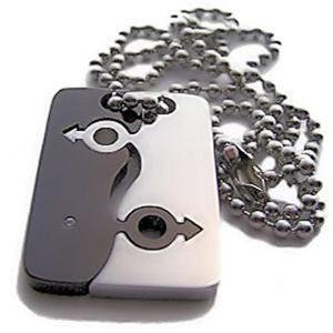Gay Mens Titanium & Stainless Steel Puzzle Dog Tag Pendant Gay Pride