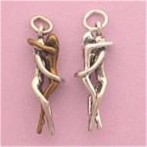 Silver & Bronze OR All Silver Woman / Woman Embrace PENDANT Lesbian