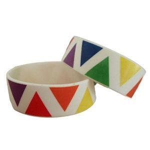 Gay Pride Wide Band Silicone Bracelet Rainbow Triangles