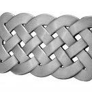 Belt Buckle Celtic Knot Weave Mesh Irish Silver Brushed Metal Medieval