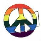 Gay Pride Belt Buckle Peace Symbol Rainbow