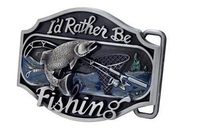 I'd Rather Be Fishing Belt Buckle Bass Sport Fisherman Western