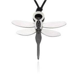 Ziovani 2 Toned Dragonfly Pendant Stainless Steel With Cord Necklace