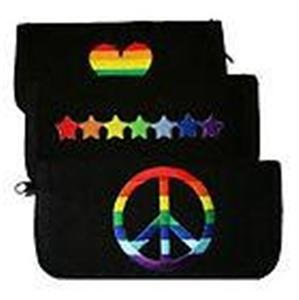 Gay Pride Canvas Clutch Wallet Black with Rainbow Peace, Stars, or Heart