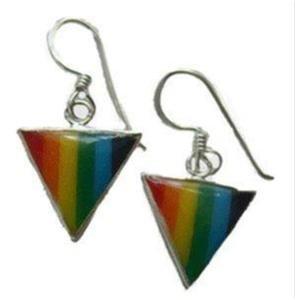 Gay Pride Rainbow Triangle Dangle Earrings .925 Silver
