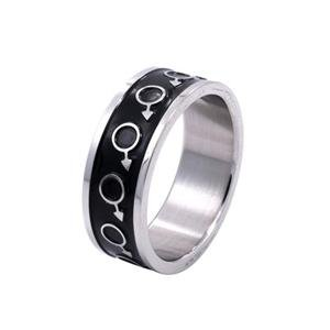 Mens Stainless Steel and Enamel Ring Mars Gay Pride