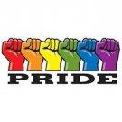 Gay Pride Rainbow Fists Strip Sticker