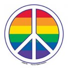 Gay Pride Peace Sign Bumper Sticker Rainbow Lesbian